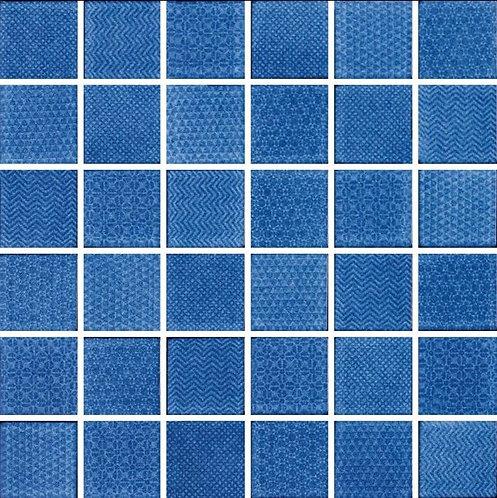 Cape Cod Cobalt Glazed Porcelain Mosaic 297x297x4mm (47x47mm chip)