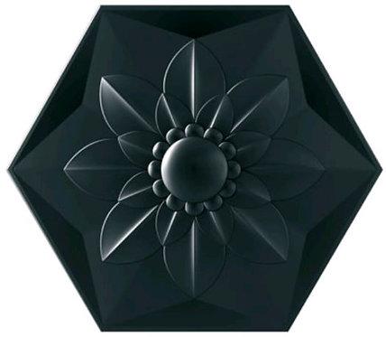 Frozen Flower Black Satin Ceramic Feature Tile 258x298x8mm