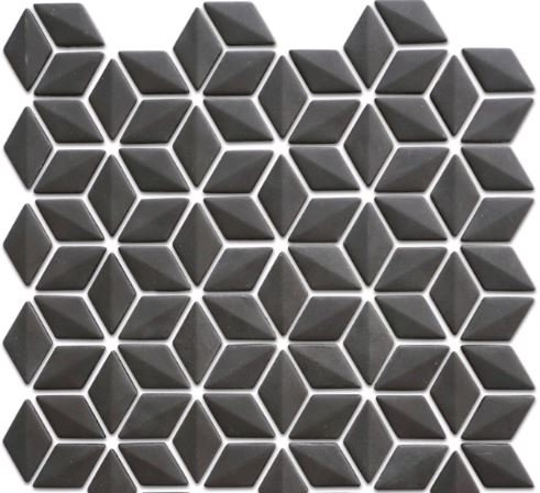 Rumour 3D Black Recycled Glass Mosaic 280x283x6mm (Chip 24x48mm)