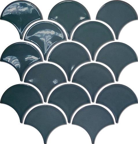 Freshwater Denim Blue Fan Gloss Mosaic 259x273x7mm