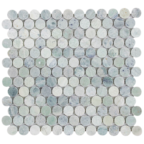 Verdi Cristallo Penny Round Honed Mosaic 305x287x10mm