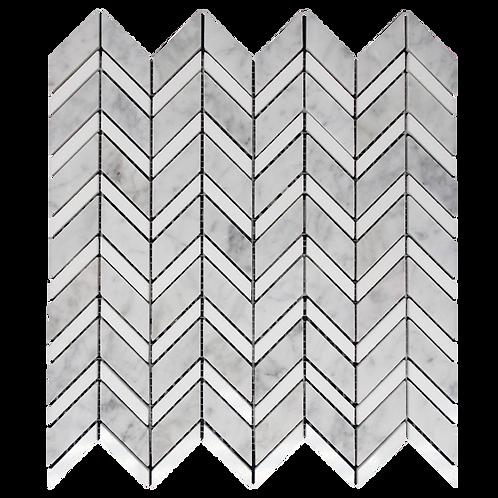 Zone Carrara D Honed & Thassos Polished Chevron Mosaic/Stripe 300x320mm