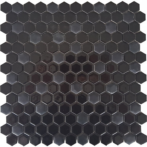 Gypsy Black Hexagon Porcelain Mosaic 305x302mm
