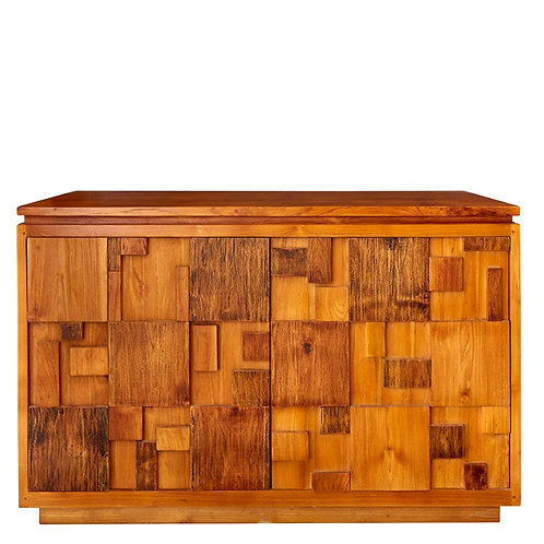 Natural Aged Teak Cabinet With 3d Cabinet Doors