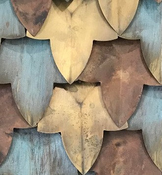 Leaf Brass Copper Mosaic