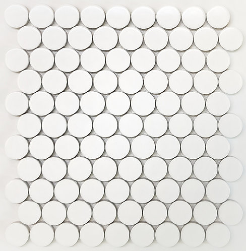 Circo White Matt Large Penny Round Mosaic 280x307x7mm