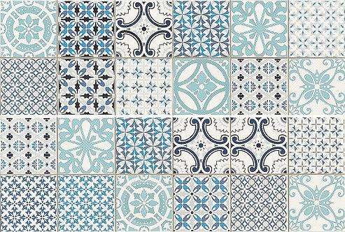 Casablanca Blue Ceramic Feature Wall Tile 2 Pce Set 250x750x10mm by Dune