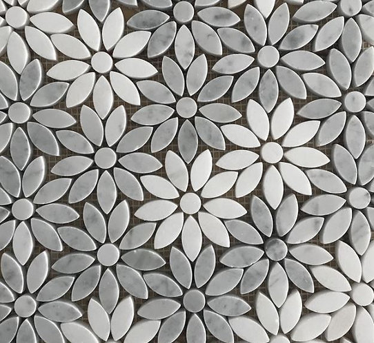 Freya Carrara/Thassos Alternate Honed Mosaic 290x325x10mm