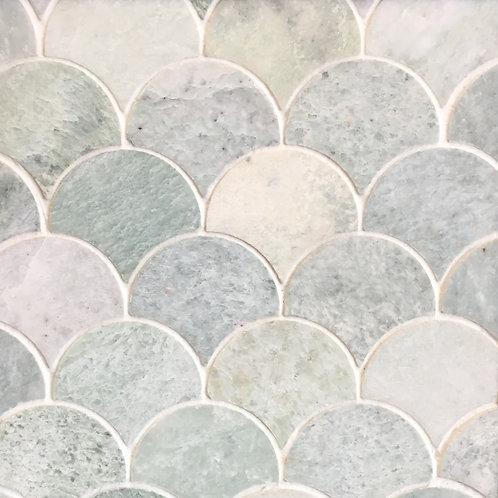 Verdi Cristallo Emerald Wash Honed Fan Mosaic 244x263x10mm