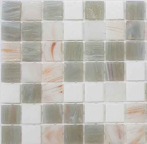 Mt Buller Glass Pool Mosaic 300x300x4mm sheet (20x20mm chip) Dot Mounted