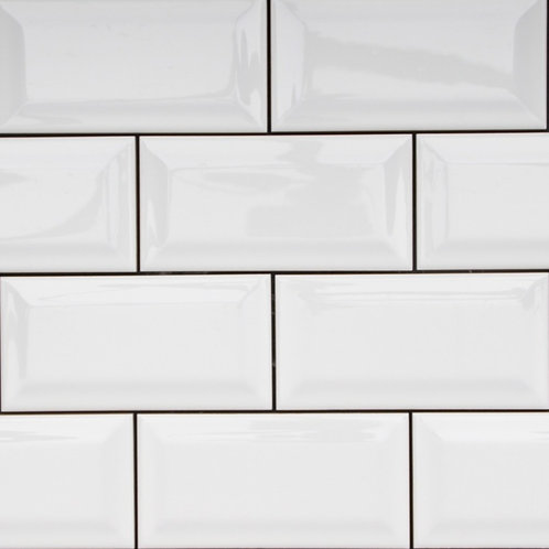 Subway White Gloss Glazed Tile Bevelled Edge 150x75x5mm