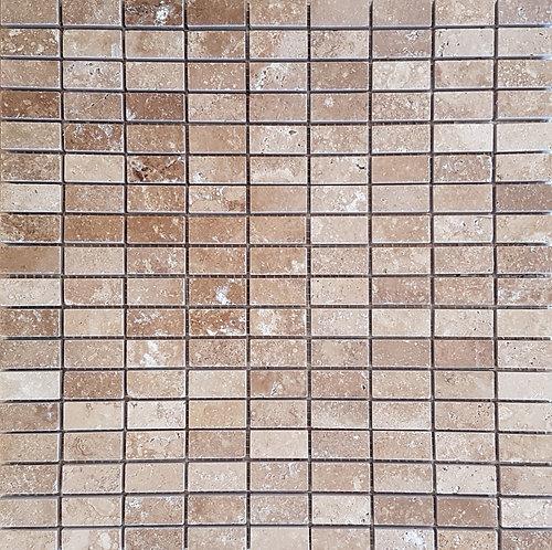 Travertine Noce Polished Mosaic 300x300mm