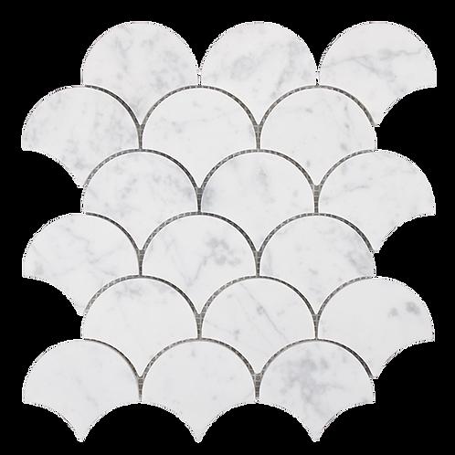 Aruba Carrara C Marble Honed Fan Mosaic 244x263x10mm