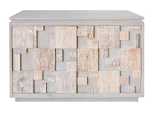 Costal Driftwood Grey Aged Teak Cabinet With Cupboard Doors