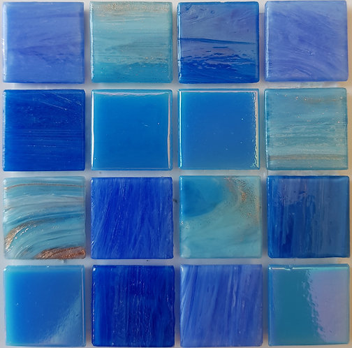 Pacific One Liz Glass Pool Mosaic 322x322x4mm (20x20mm chip) Hotmelt