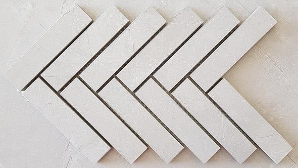 Fracture Bianco Herringbone Lappato Mosaic 280x297x10mm