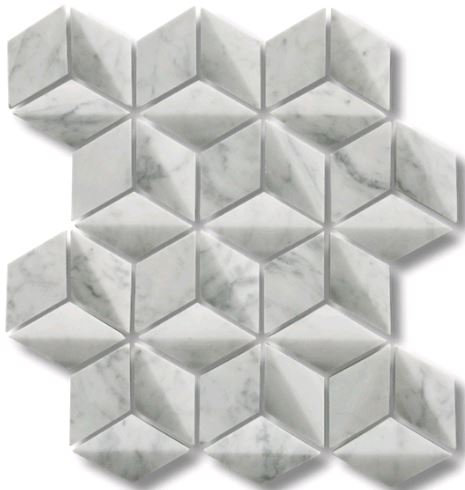 Helena Carrara C 3D Honed Mosaic 244x282mm (Chip 39mm diameter)