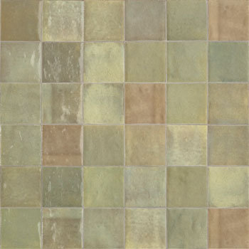 Rose Bay Green Mix Gloss Ceramic Zellige Tile 100x100x10mm