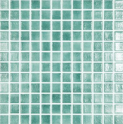Vision Sea Green Glass Pool Mosaic 315x315x4mm (25x25mm chip) Dot Mesh