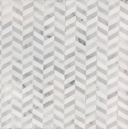 Ribbon Chevy Thassos and Carrara Mosaic 305x300mm