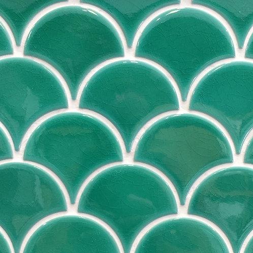 Collaroy Emerald Green Porcelain Fan Mosaic 270x290mm