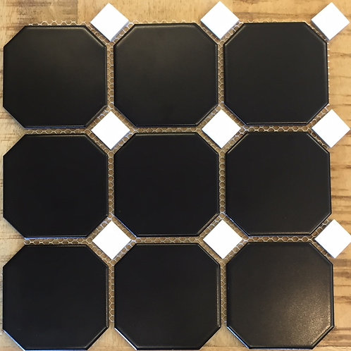 Octagon Black With White Dot Ceramic Mosaic 300x300mm