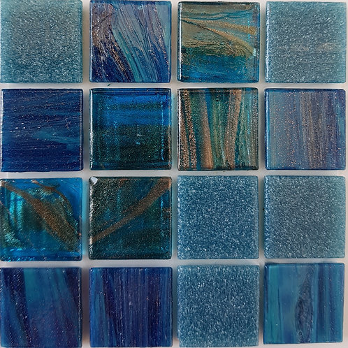 Pacific One Salice Glass Pool Mosaic 322x322x4mm (20x20mm chip) Hotmelt