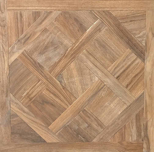 Nut Parquetry Italian Rectified Timber Look Porcelain Tile 750x750x10mm