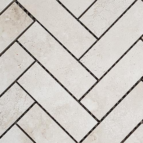 Travertino Bianco Herringbone Mosaic 260x315x10mm
