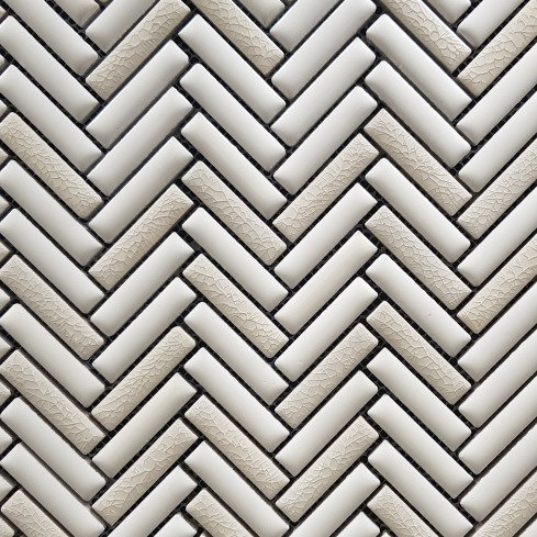 Gypsy White Mix Mini Herringbone Porcelain Mosaic 308x290mm