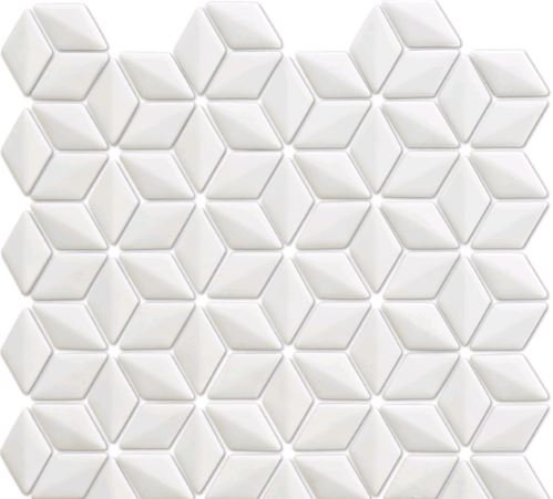 Rumour 3D White Recycled Glass Mosaic 280x283x6mm (Chip 24x48mm)