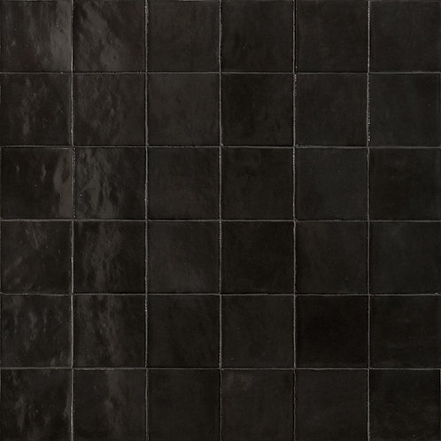 Rose Bay Charcoal Gloss Ceramic Zellige Tile 100x100x10mm