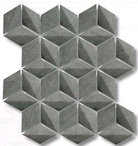 Helena Charcoal 3D Honed Mosaic 244x282mm (Chip 39mm diameter)