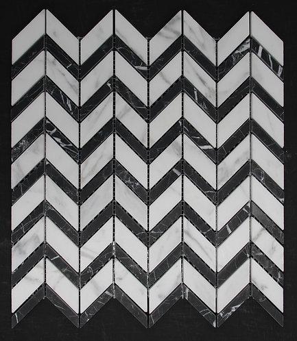 Zone Carrara C Nero Marquina Honed Chevron Stripe 300x320mm