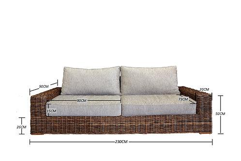 """The Nusa"" Rattan Sofa Grey 230cm wide x 90 cm deep"