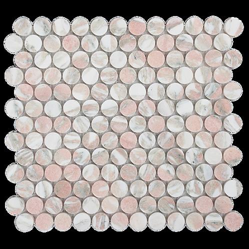 Fiori Rosa Honed Penny Round Mosaic 305x287x10mm
