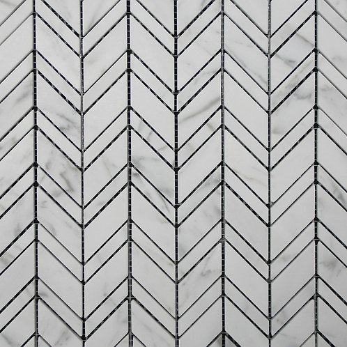 Zone Carrara C Honed Chevron Mosaic 300x320x10mm - CUSTOM ORDER