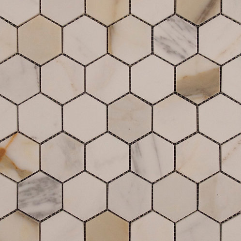Taj Calcatta Gold Hexagon Honed Mosaic 300x305x10mm
