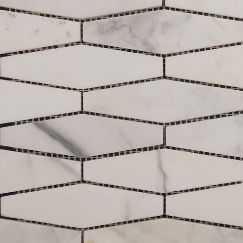 Calacatta Statuario Long Hexagon Honed Mosaic 277x252x10mm