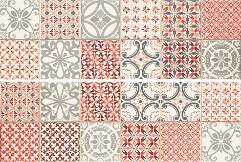 Casablanca Red Ceramic Feature Wall Tile 2 Pce Set 250x750x10mm by Dune