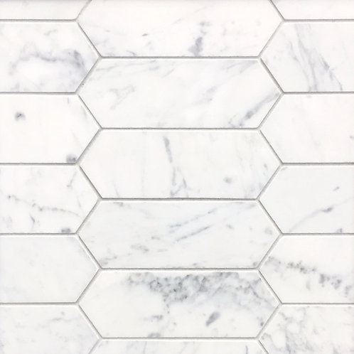 Aruba Carrara C Marble Honed Picket Mosaic 348x310x10mm