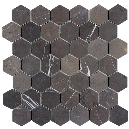 Porto Pietra Grey Hexagon Honed Mosaic 300x315x10mm