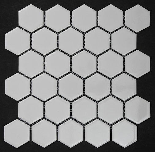 Halt White Hexagonal Gloss Mosaic 270x310x5mm