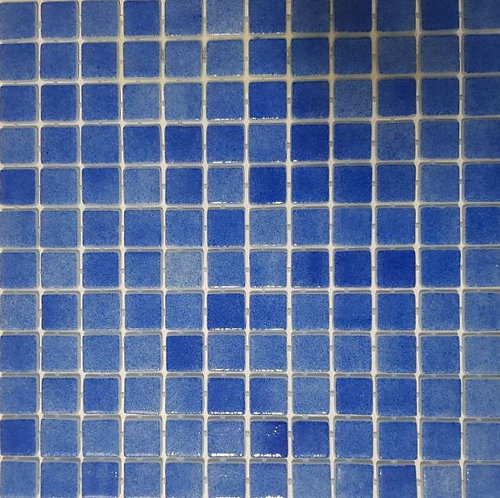 Vision Royal Blue Glass Pool Mosaic 315x315x4mm (25x25mm chip) Dot Mesh