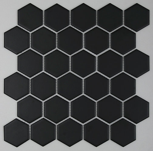 Halt Black Hexagon Matt Mosaic 270x310mm