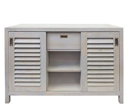 Coastal Driftwood Grey Teak Cabinet With Louvre Slat Doors