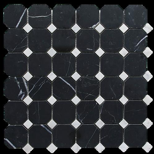 Nero Marquina Octagon Honed & Carrara C Dot 298x298x10mm