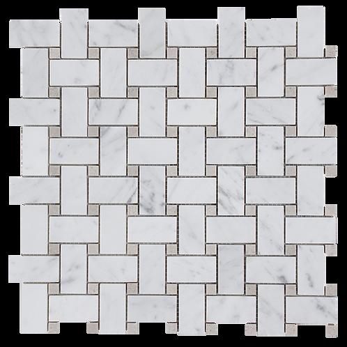 Basketweave Carrara C Honed with Grey Dot 305x305x10mm