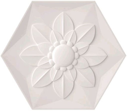 Frozen Flower White Satin Ceramic Feature Tile 258x298x8mm