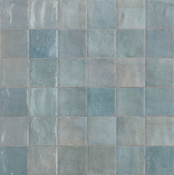 Rose Bay Light Blue Gloss Ceramic Zellige Tile 100x100x10mm